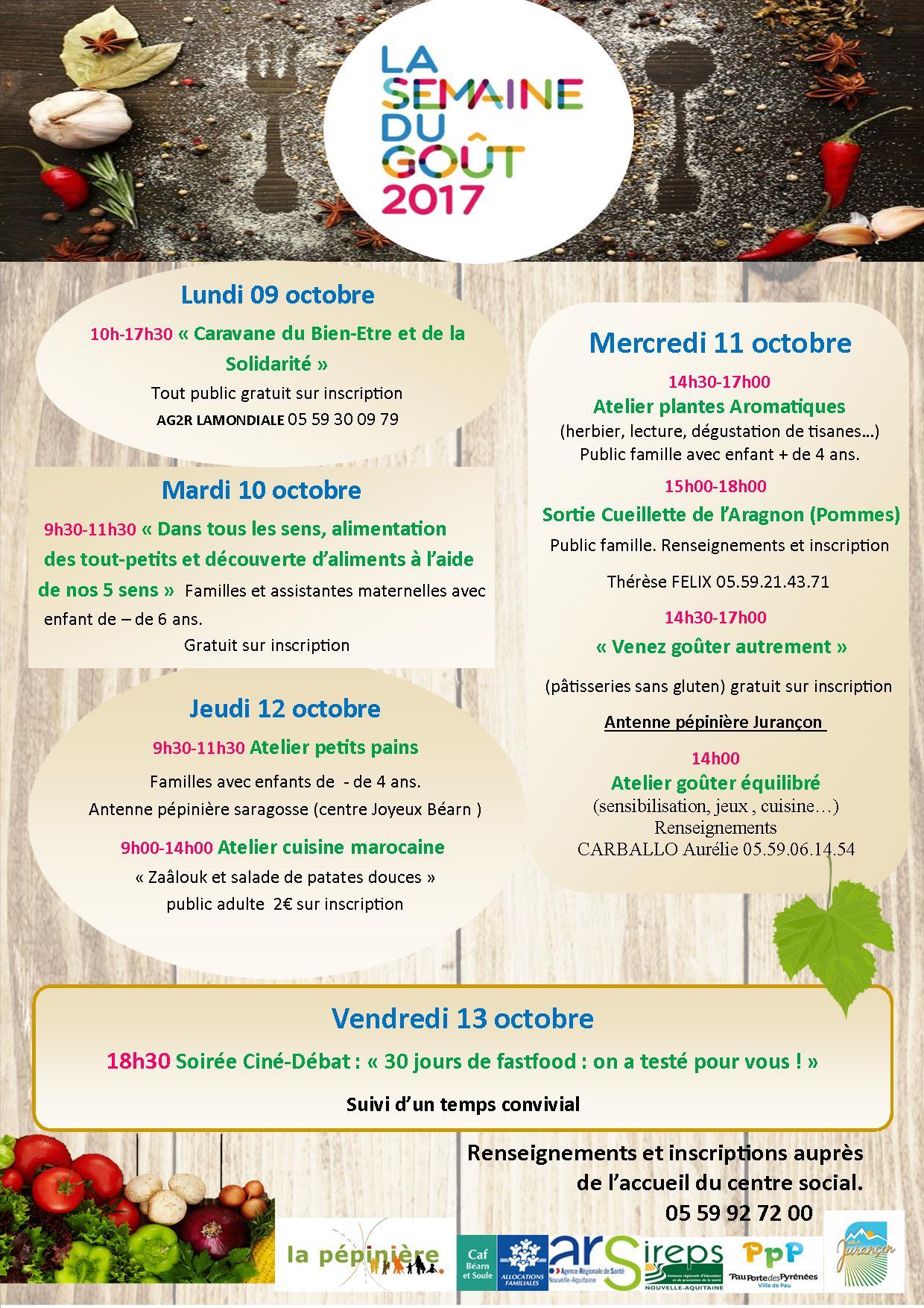 Assez Programme de la semaine du goût 2017 à la Pépinière – La Pépinière MP03